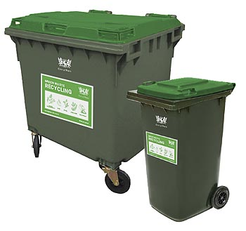Refuse bins with green lids
