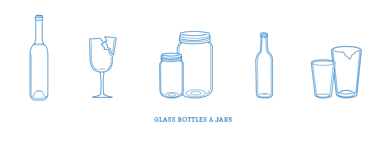Glass bottle and jars recycling