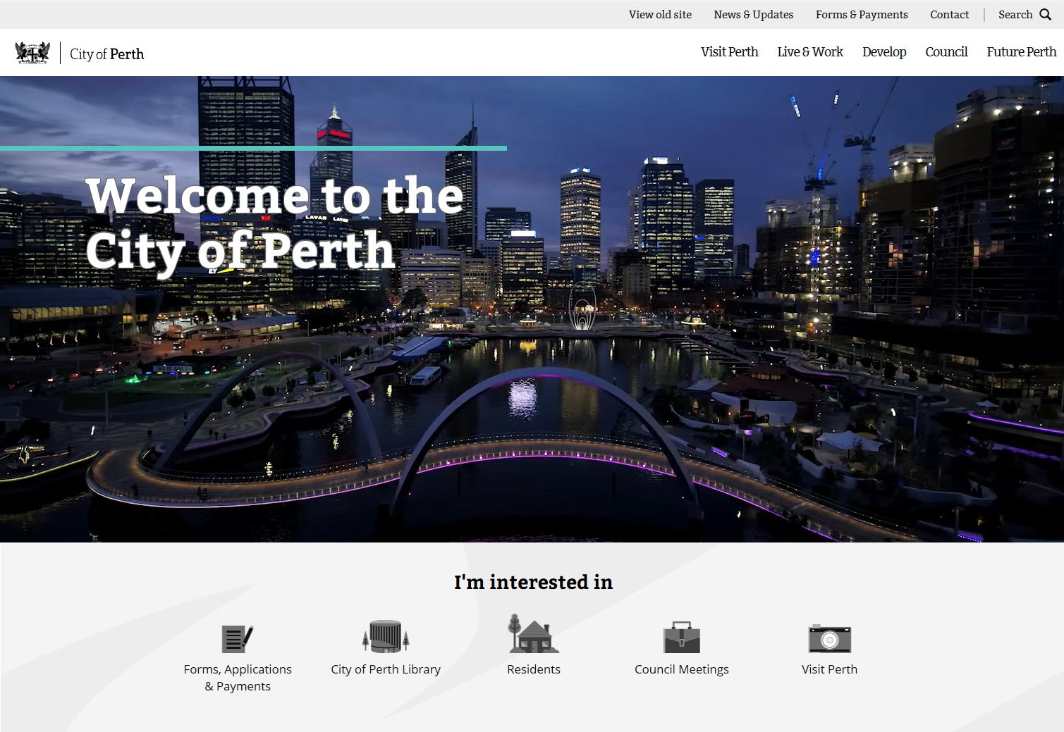 New City of Perth website. Screenshot of homepage