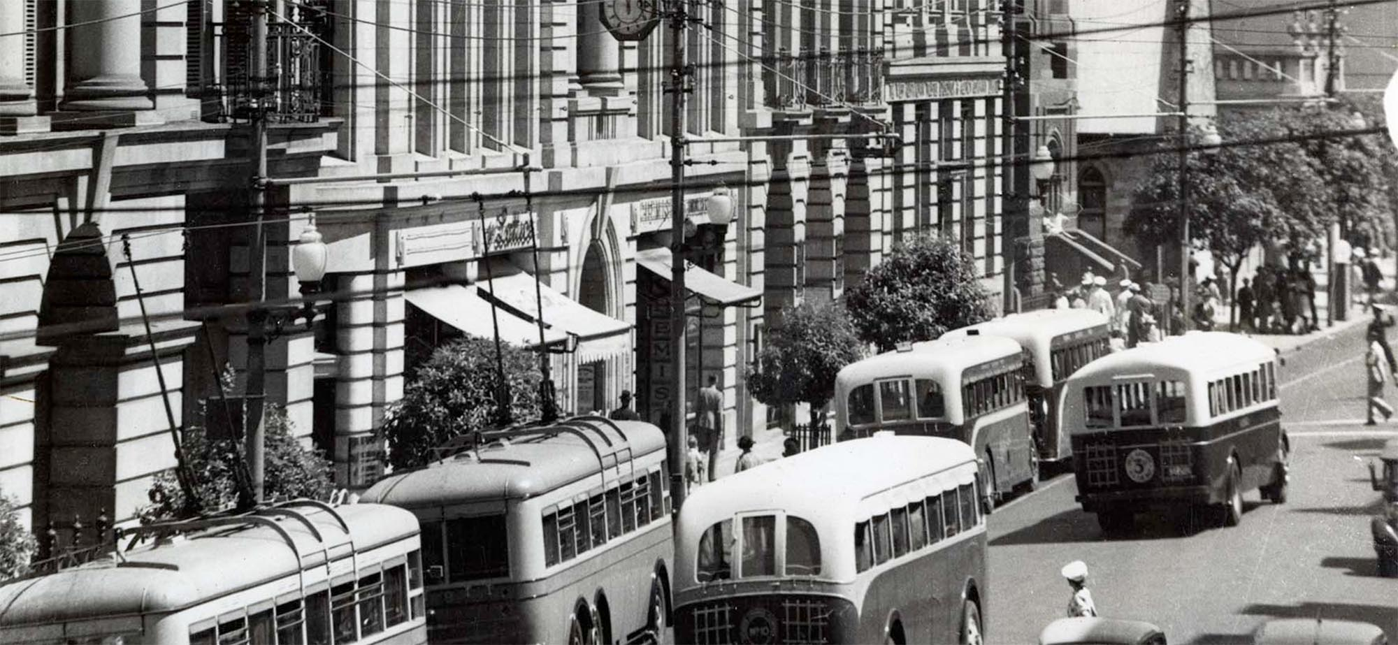 Historical black and white image of St Georges Terrace