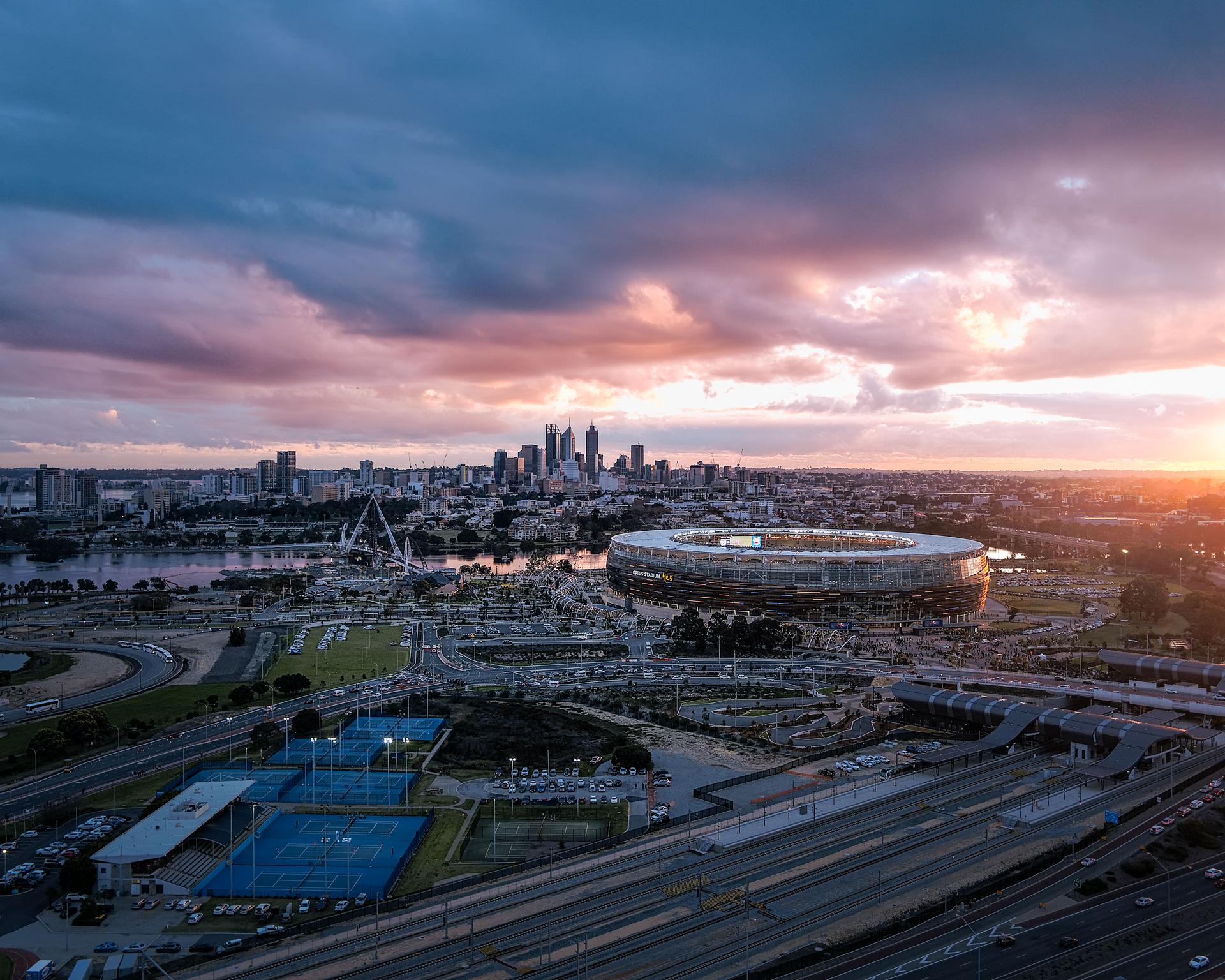 Optus Stadium and the city